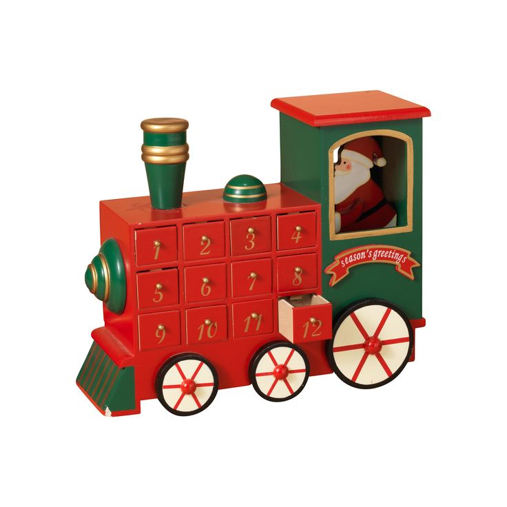 """16.7""""L Wood Holiday Train Countdown Calendar With Working Drawers"""