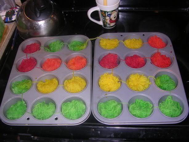 Dyeing striping yarn in muffin tins. Truly brilliant!