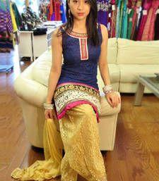 Buy Blue embroidered brasso semistitched salwar with dupatta party-wear-salwar-kameez online