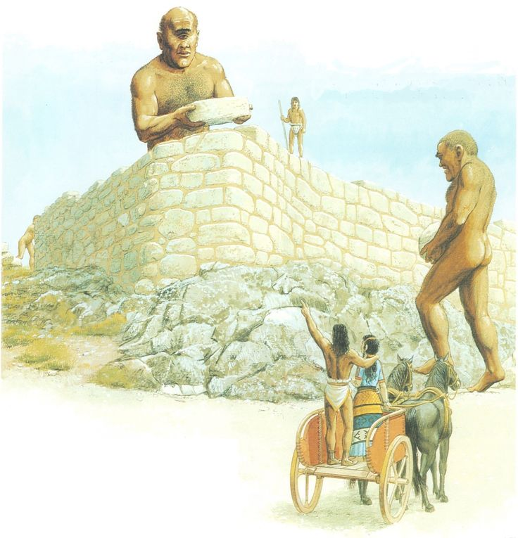 Perseus & Andromeda supervise the building of their new citadel at Mycenae, believed to be built by the Cyclopes, a race of one-eyed giants. (Peter Connolly/ Pausanias/user: Aethon)