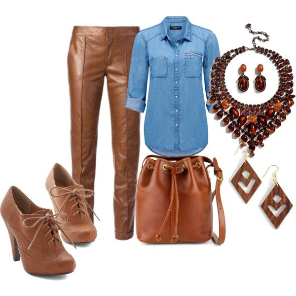 Brown leather pants by andreabarria on Polyvore featuring Forever New, Gucci, Paul Frank, AERIN and Mata Traders