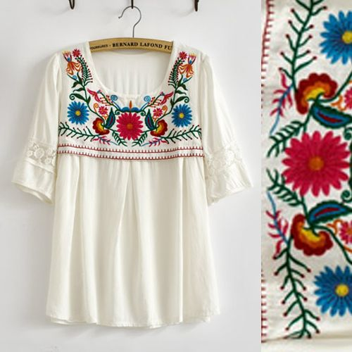 Vintage 70s bohemian Mexican Retro Crochet BIG Floral Embroidered LOOSE Lace top White Cotton Blouse Womens blusa Free Shipping
