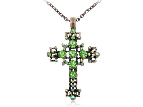Тона год сбора винограда Зеленый Перидот Горный Хрусталь Кристалл Пузырь Святой Крест Ожерелье
