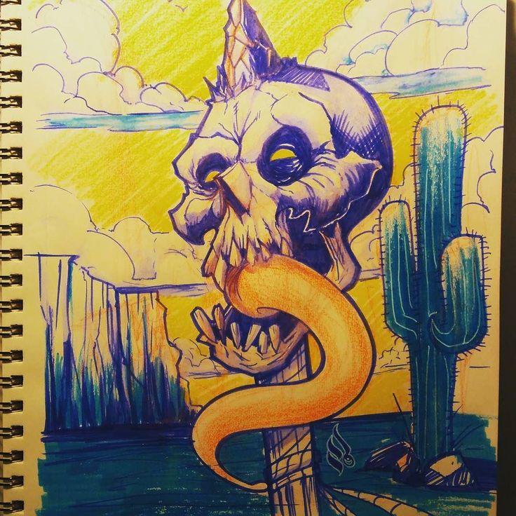 It's roasting outside  #sketch #doodle #skull #hot #heat #mrturn #may