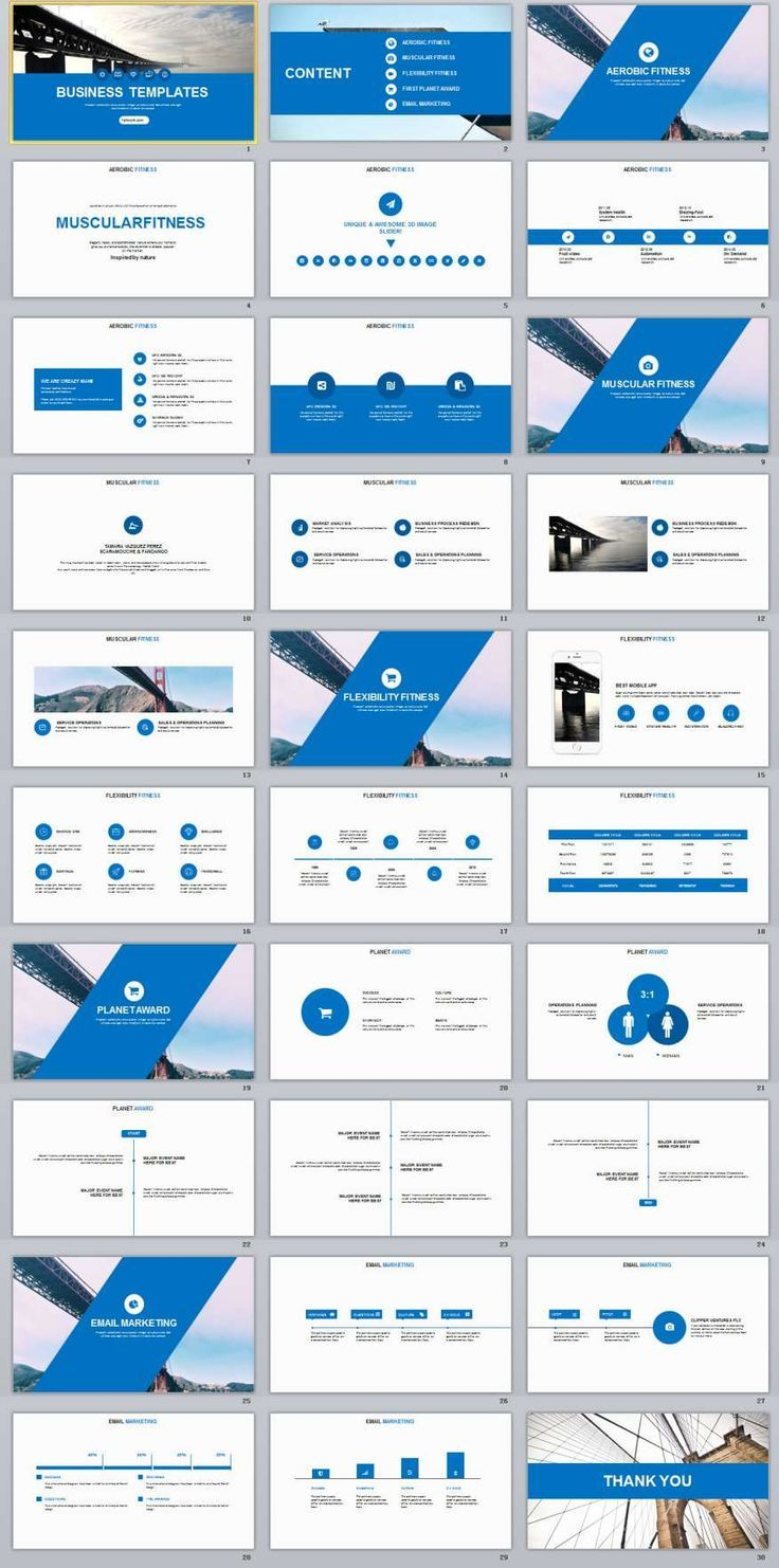 30 blue annual report presentation powerpoint templates