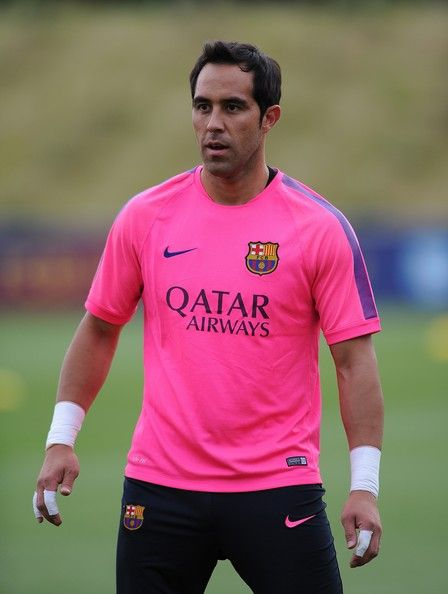 Claudio Bravo of Barcelona looks on during the Barcelona Training Session at St George's Park on July 28, 2014 in Burton-upon-Trent, England.