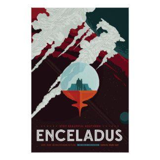 Enceladus Space Travel Poster