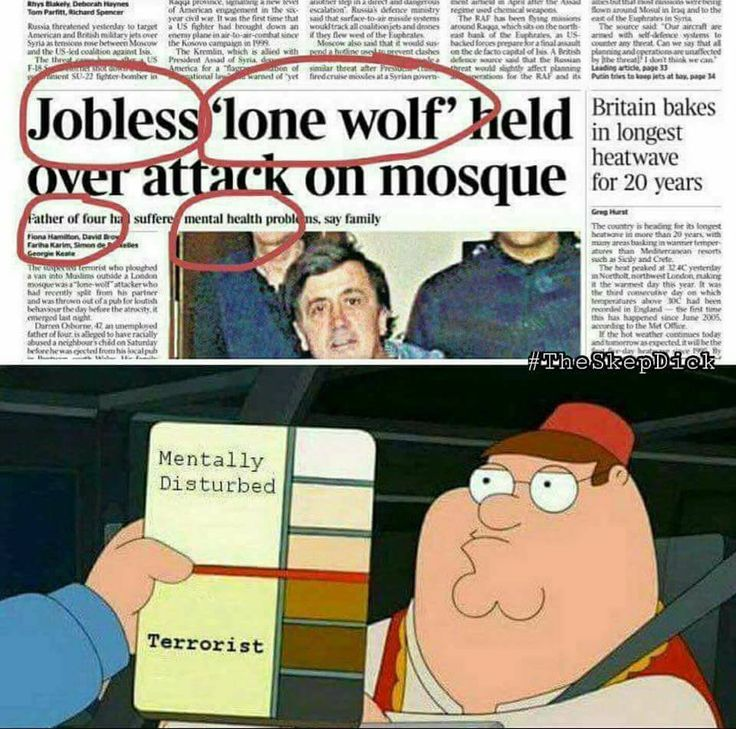 "Jobless 'lone wolf' held over attack on mosque. Skin color determines whether you are ""highly disturbed"" or a ""terrorist""."