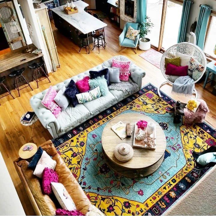 Round Coffee Table Boho Chic Interior Design Shabby Decor Boho