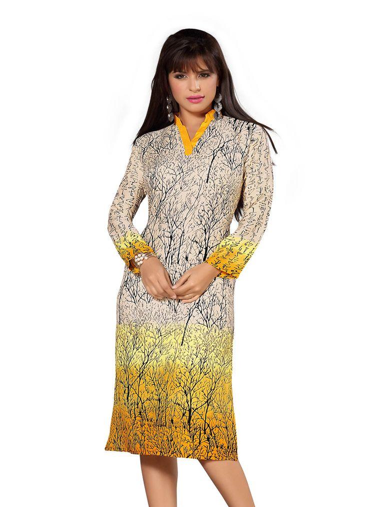 Yellow Rayon Cotton Kurti gunjfashion.com