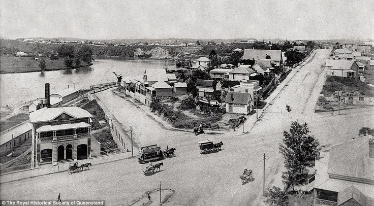 Intersection of Stanley Street, Vulture Street and Dock Street, South Brisbane, c.1887-89: The photo shows a horse-drawn omnibus and horse-drawn tram with a tip horse which is an accompanying third horse to assist on the hill. The building on the left was South Brisbane School of Arts. It housed the Post and Telegraph Office, from 1881, South Brisbane Library, from 1897 and City Concert Hall, from 1902