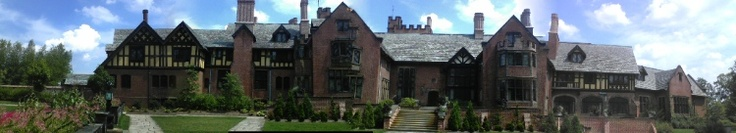Panorama of the rear of Stan Hywet Hall, Akron, Ohio.  Home of the founder of Goodyear Tire & Rubber Company.