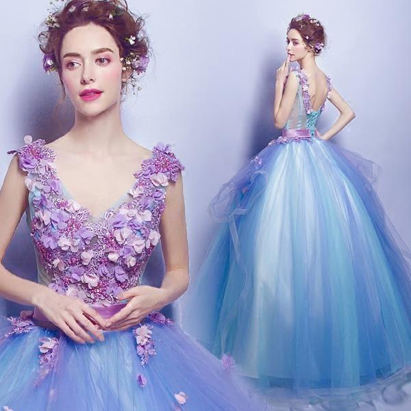 Blue flowers deep v collar bridal wedding dress Performance dress $119 => Save up to 60% and Free Shipping => Order Now! #fashion #woman #shop #diy www.weddress.net/...