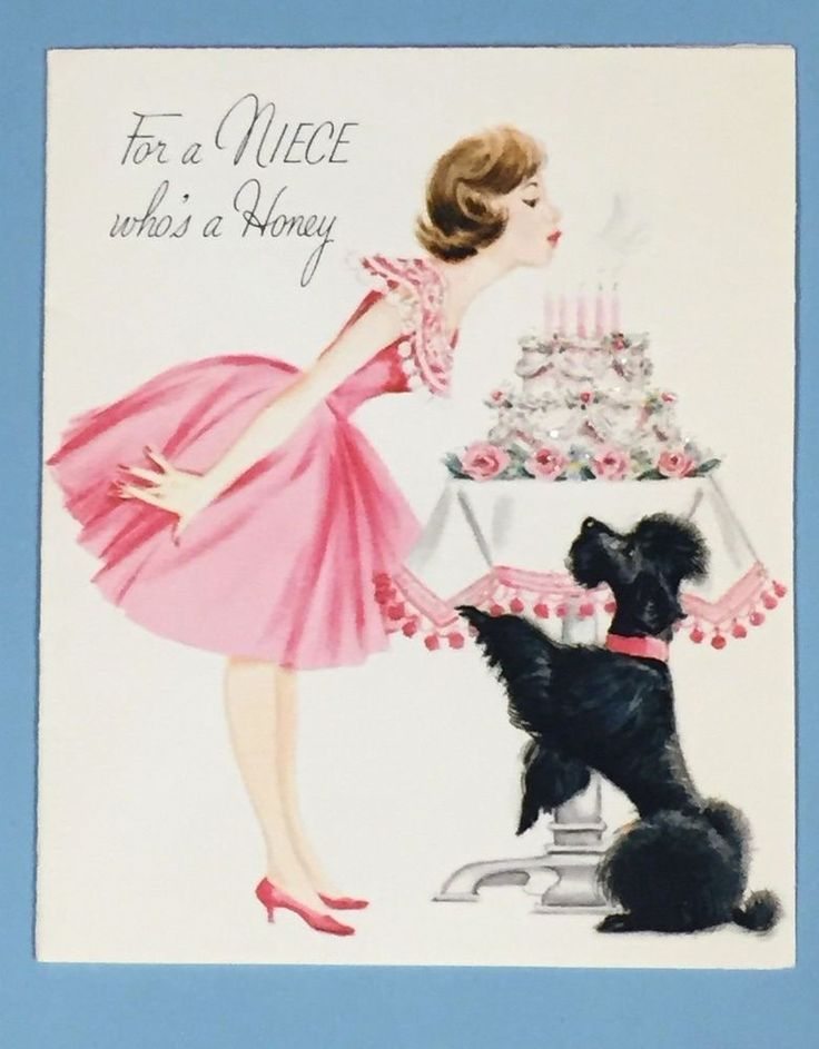 1963 NORCROSS Glitter Niece Birthday Card - 'For a niece who's a honey' - Used