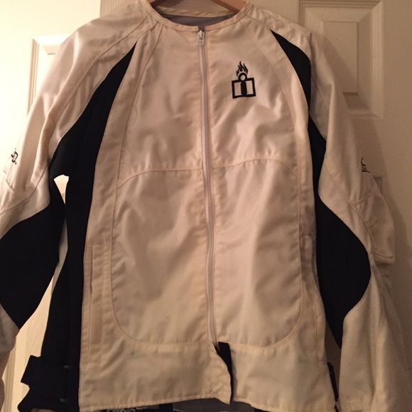Women's Icon Motorcycle Jacket Icon Merc brand white with black trim women's  motorcycle jacket. With original padding and all zippers work. Never been in accident with jacket and no rips or tears. ICON Jackets & Coats Utility Jackets