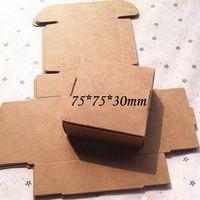 Commercio all'ingrosso 7.5x7.5x3 cm 50 pz/lotto piccolo marrone kraft scatola di carta, scatola per il regalo, imballaggio box, trasporto libero