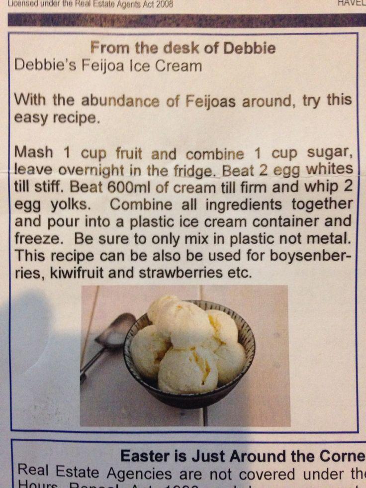 Fejoa icecream recipe.  maybe a fruity dream.