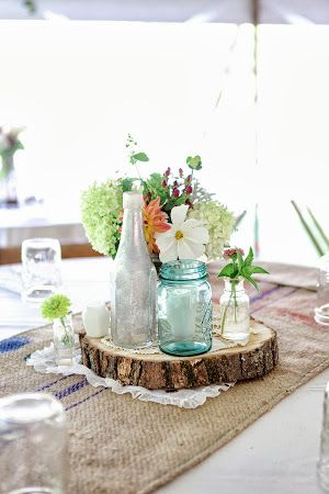 Rustic summer wedding centerpiece! Great for a South Lake wedding!