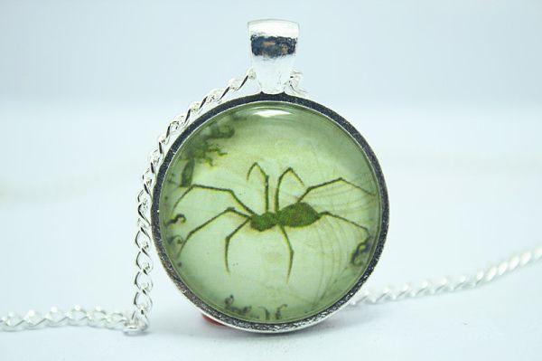 Паук ожерелье, Жуткий готический хэллоуин подвеска драгоценности стекло кабошон ожерелье