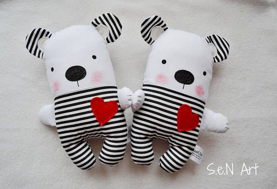 Small Black and White Striped Handmade Stuffed Teddy Bear Soft