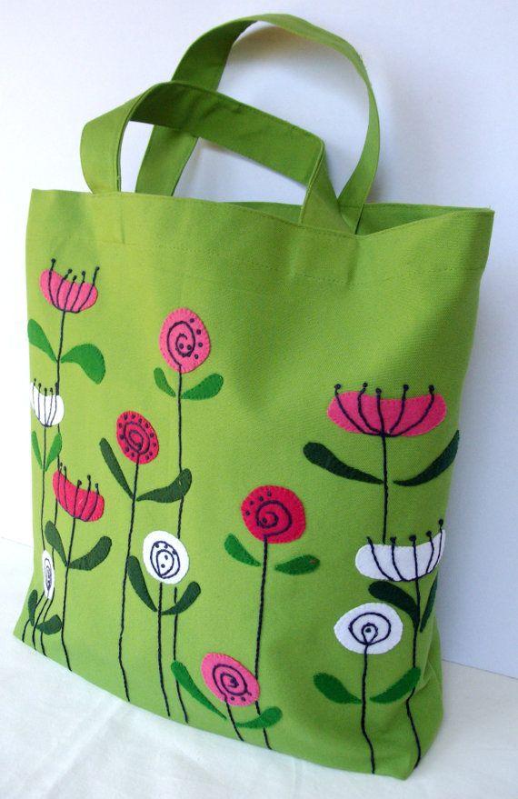 Flores de primavera en lona verde, bolso de mano a mano, apliques a mano, llevar todos, respetuoso del medio ambiente, único bolso
