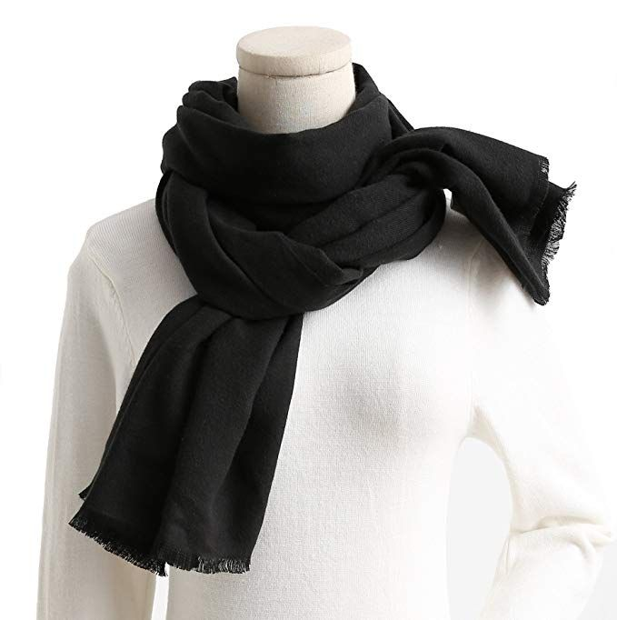 Black Fleece Scarf with Tassels Warm Soft Cosy Feel