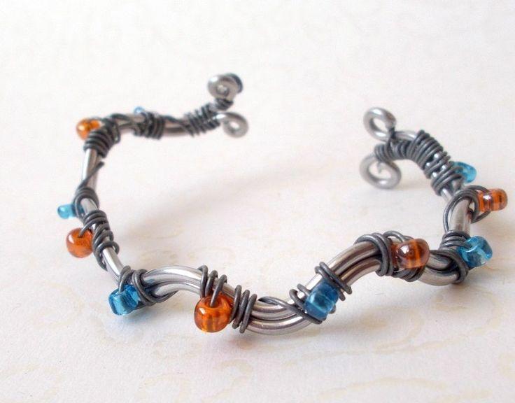 Armreif bunt Fee Elfe Glasperlen Orange Blau 16,5 cm Spiralen/Nickelfrei
