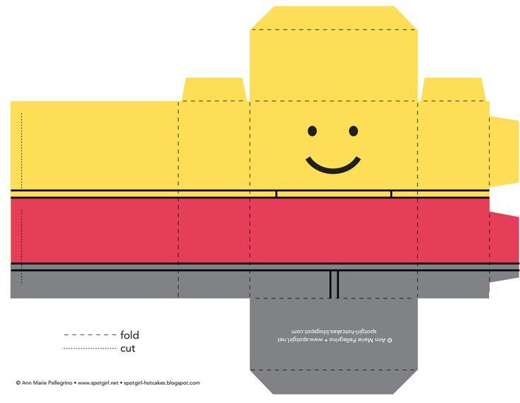 FREE Printable LEGO FAVOR BOX - Lego Party Ideas take to kinkos to colour print on superior paper/cardstock