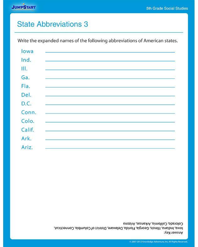 State Abbreviations 3 Social Studies Worksheet