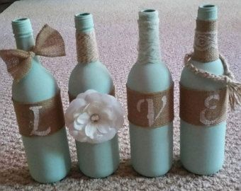 Decorative Love Wine Bottles by ChalkPaintCrayzay on Etsy