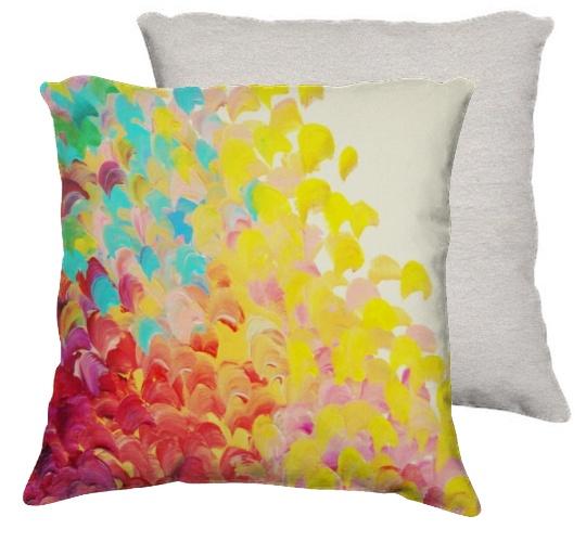 Rainbow Velveteen Throw Pillow
