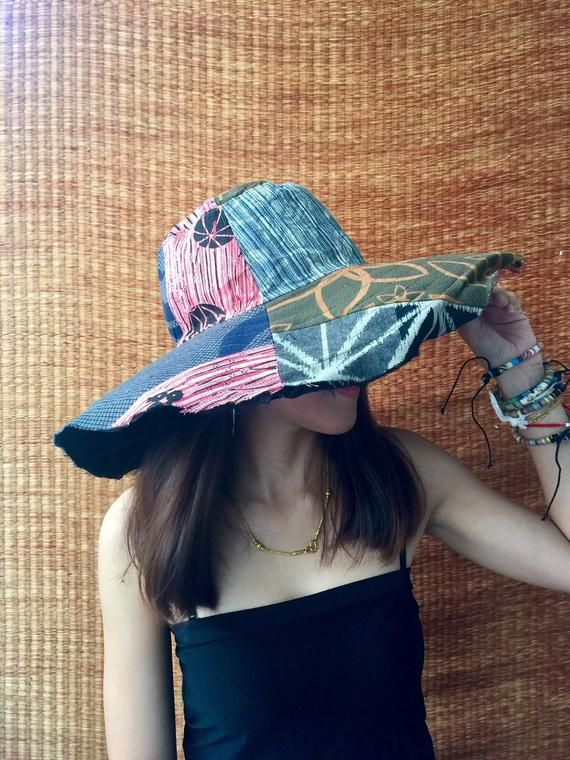 5c02b64743ef7d Multicoloured Unique Patchwork Wide Brim Hippie Festival Sun Hats Cotton Hat  Lady Stylish Colorful Hippy Gypsy Gift for women Chic fashion #BucketHat ...