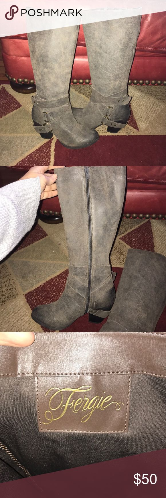 """Fergie LEGEND TOO leather boots herb color sz 7 With box, worn once. Paid $180+tax for these. """"herb"""" color and very unique- grey-ish/brown color with brass colored hardware. Zipper closure on the inside. The top buckle is starting to separate but could easily be glue back. Leather. Size 7. Fergie brand, from von maur. No trades price is firm Fergie Shoes Heeled Boots"""