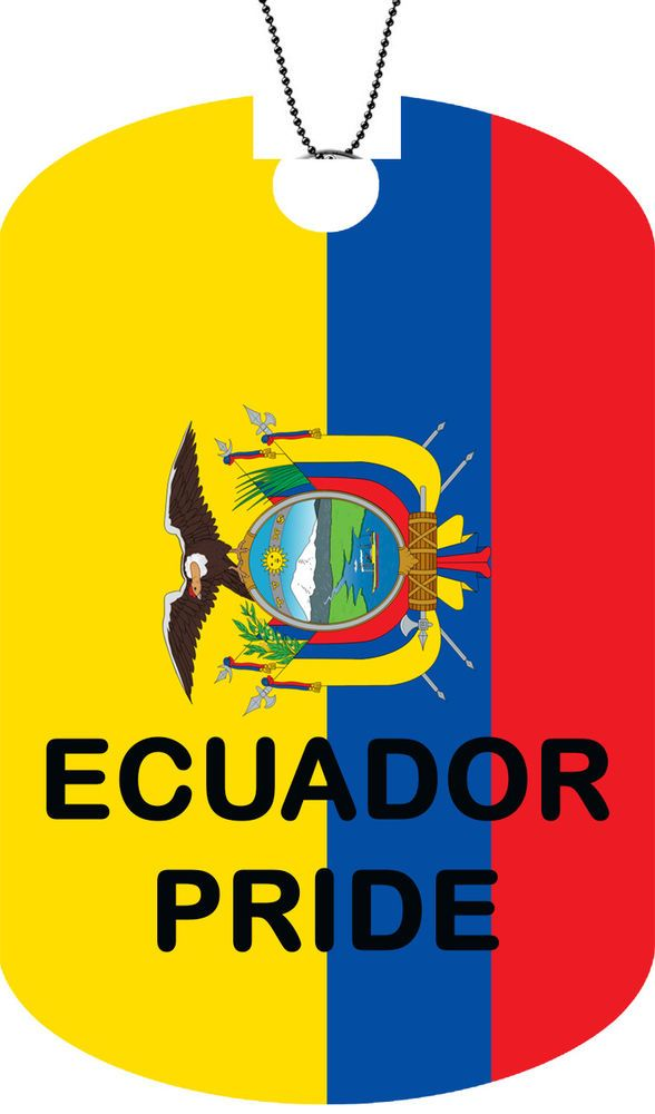 ECUADOR flag Adult Dog Car Tag Chain Necklace PRIDE Version  #FastServiceDesigns #DogTag
