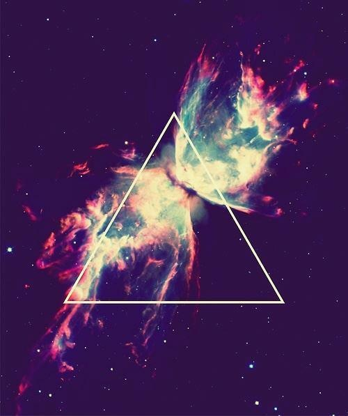 Two galaxies colliding. _________________________________  Triangle