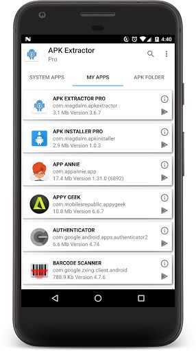 APK EXTRACTOR PRO v4.0.1 [Unlocked]   APK EXTRACTOR PRO v4.0.1 [Unlocked]Requirements:4.0.3Overview:This application helps you to extract installed applications and generate an APK file on your device so you can share in Gmail Dropbox Google Drive..  - Fast and easy to use. - Extract all the applications in your device User and System (ONLY ROOT DEVICE) - By default the file is saved in / sdcard or internal memory / APK Extractor Pro / - The search option will help you to find any…