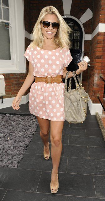 a casual polka pot pink dress with leather accessories masters the messy, fun vibe without trying too hard.