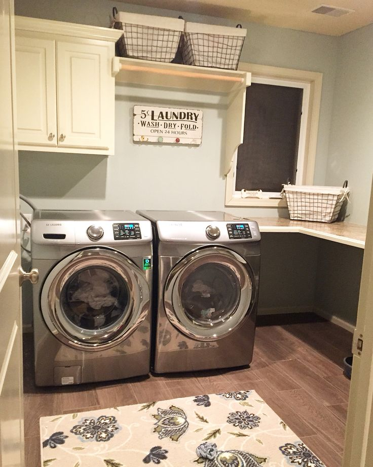 our beautiful laundry room renovation woodgrain tile floors hgtv paint in comfort