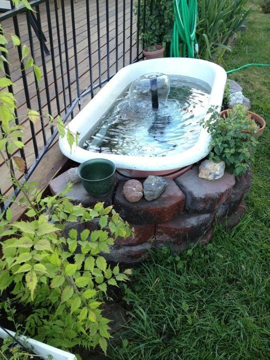 After scouring antique and junk stores we settled for this unique garden pond.  We used a pump system purchased from a local garden center, filled it with water and a few dime store gold fish, and have enjoyed it for many years.  The fish are shared with a local school, where they winter indoors and then return in the summer for an outdoor vacation.