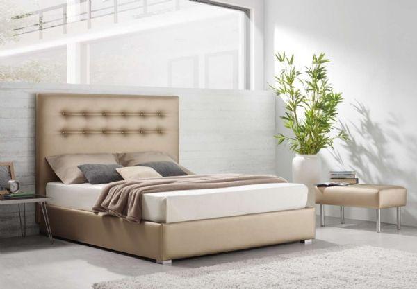 cama tapizada otto 18 - cabecero polipiel,piel o tela