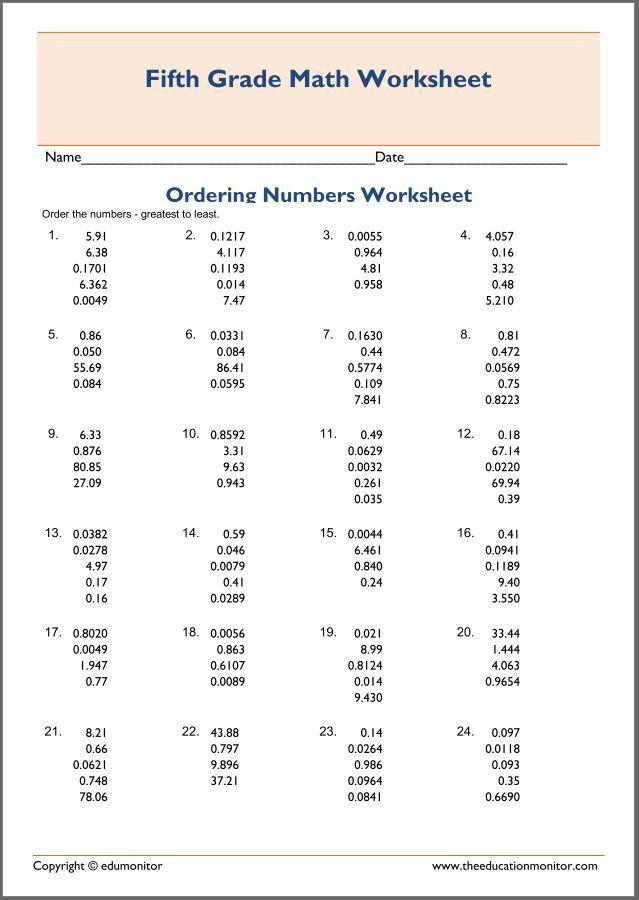 Ordering Decimals Worksheet 5th Grade Ordering Decimals Worksheets 5th Grade Fraction Word Problems Decimals Worksheets Fifth Grade Math