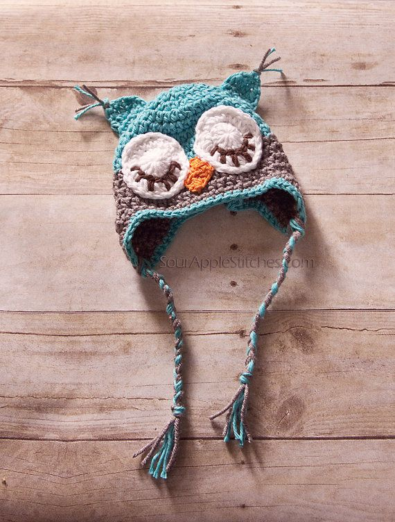 Crochet Chunky Owl Hat Pattern : Custom Crochet Sleepy Owl Earflap Beanie Hats, Crochet ...