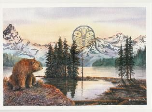Bear at Maligne Lake. Art by Sue Coleman. http://www.suecoleman.ca/