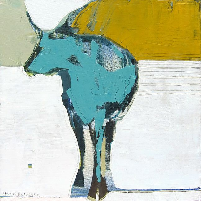 "Sherri Belassen, ""Luna Vache"" 12"" x 12"" contemporary paintings | Wilde Meyer Gallery"