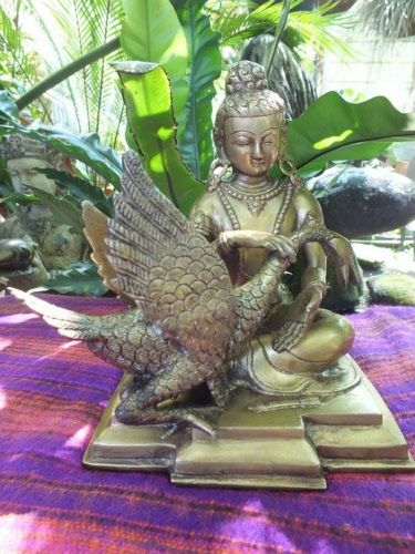 Buddha saves the swan brass statue