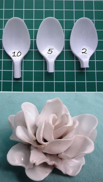 Rosas con cucharas de plástico