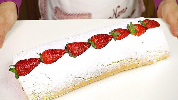 ROTOLO ALLE FRAGOLE E PANNA RICETTA FACILE - Strawberry Roll Cake Easy Recipe INGREDIENTI PER LA PASTA BISCOTTO 4 Uova 150g di Zucchero 130g di Farina 40g di olio 1/2 bustina di Lievito Vanigliato (8g) INGREDIENTI PER IL RIPIENO 300g circa di fragole fresche 3 cucchiai di zucchero (1 per la panna e 2 per le fragole) il succo di 1 limone 250ml di panna fresca da montare Zucchero a velo Vanigliato e Fragole Fresche per guarnire
