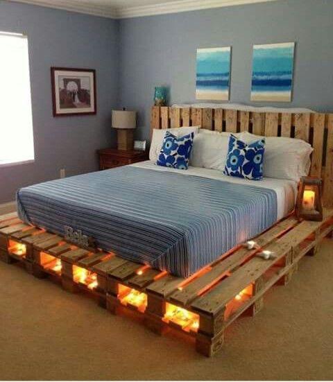 Pallet bed frame!! Love the lights!!