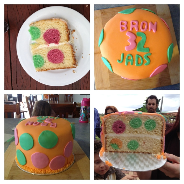 spotty dotty birthday cake make with cake pop balls.