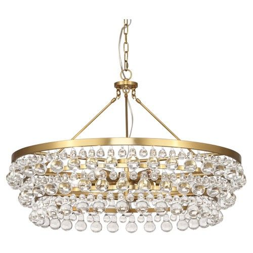 "35"" Robert Abbey Large Bling Chandelier-Antique Brass"